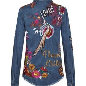 Spell & The Gypsy Collective Tops - Spell Flower Child Denim Shirt XS